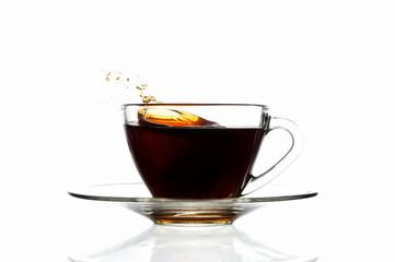 Splash coffee in glass cup