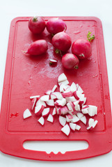 Radish on chopping board