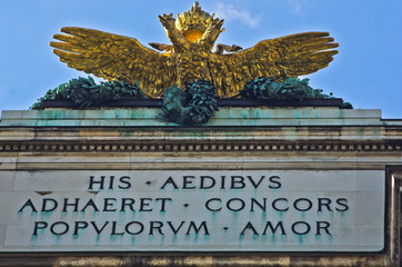 Architectural and heraldry details on Hofburg palace in Vienna