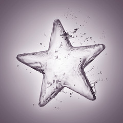 Star from water splash isolated on white