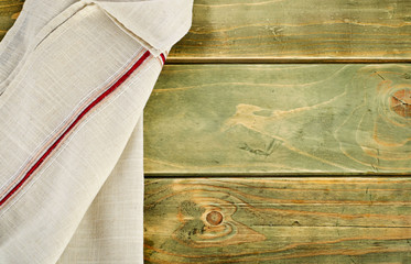 Napkin on a  wooden table