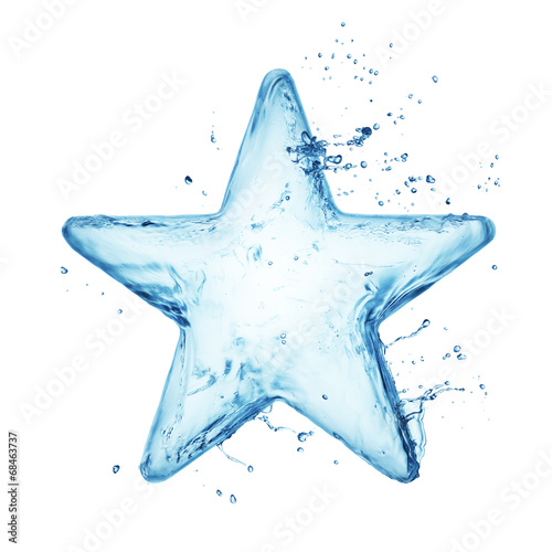 Star from water splash isolated on white © Vitaly Korovin
