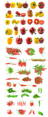collection Red and green peppers on white background