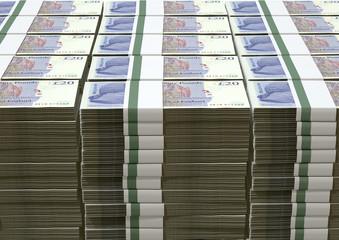 British Pound Sterling Notes Bundles Stack