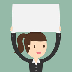 young business woman holding big blank paper over head