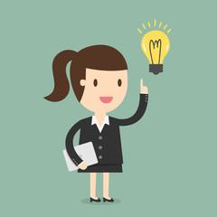 Business woman get an idea