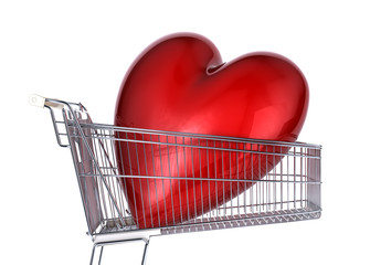 Supermarket trolley with big red shiny heart inside it.