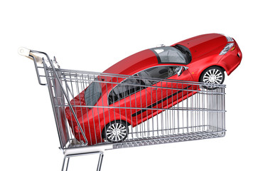 Supermarket trolley with red car inside it.