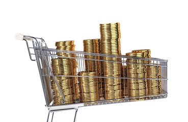 Supermarket trolley full of very big golden coins stacks.