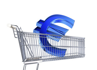 Supermarket trolley with big Euro sign inside it .