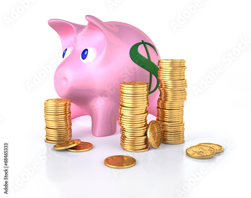 Piggy bank with some gold coins stacks around.