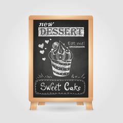 chalk drawings. Retro typography. Cake