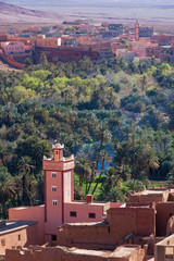 Mosque in Morocco with village and palmtree forest
