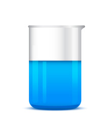 Chemical beaker with solution on white background