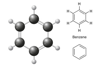 Structural chemical formulas and model of benzene molecule