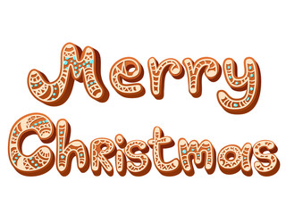 Christmas gingerbread text letters sign isolated