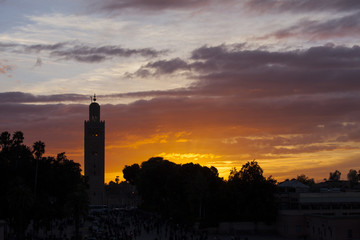 The Koutoubia and Jemma el Fna square mosque in Marrakesh