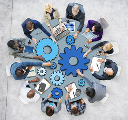 Group of People in Meeting Photo and Illustration