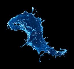 blue water splash isolated on black background