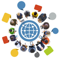 Group of People Using Devices with Globe Symbol