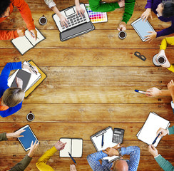 Diverse People in a Meeting and a Copy Space