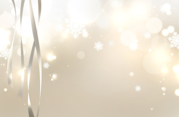 Sparkling and shiny Christmas abstract background with streamers