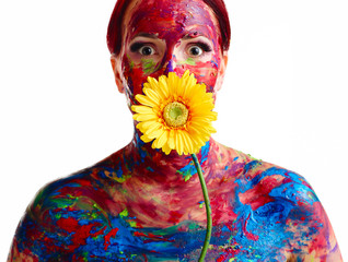 Painted woman and flower