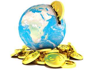 moneybox in the form of the earth and golden dollar coin