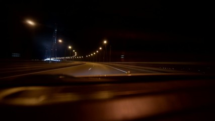 Driving at high speed through the bridge.