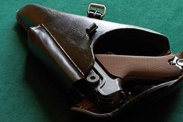 Parabellum pistol in a holster