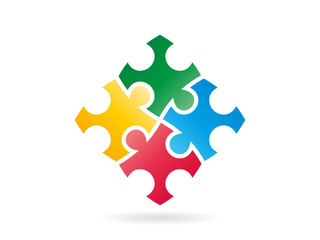 Colored puzzle pieces forming a whole square vector