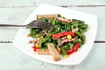 Salad with green beans, ham and  corn