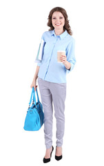 Young business woman with bag and cup of coffee isolated