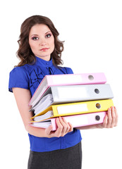 Young business woman with office folders isolated on white