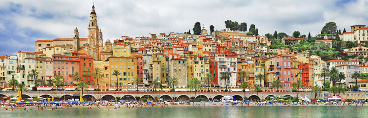 panorama of Menton.beautiful town in border of France and Italy