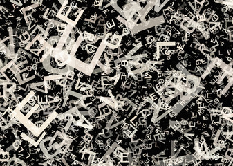 many abstract chaotic grey alphabet letters