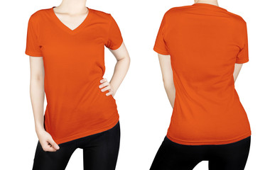 Orange color T-shirt on woman body with front and back side isol