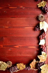 Grapes,pine cones and fall leaves