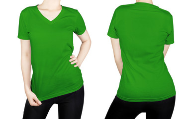 Green T - shirt on woman body with front and back side isolated