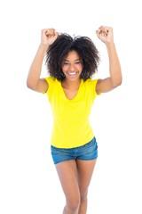 Pretty girl in yellow tshirt