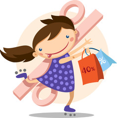happy little girl running with shopping bags