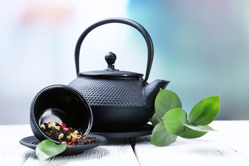 Black teapot, bowl and tea