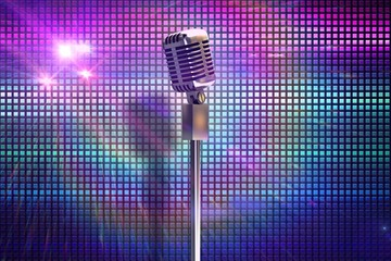 Composite image of retro microphone on stand