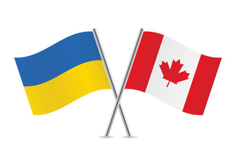 Canadian and Ukrainian flags. Vector illustration.