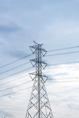 High voltage cable installation on Steel Tower