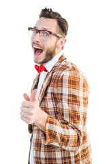 Geeky hipster pointing at camera
