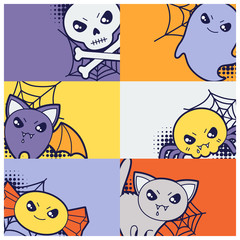 Halloween kawaii greeting cards with cute doodles.