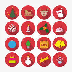 Set of Christmas icons with the main object of the feast