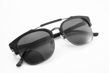 Unisex black modern sunglasses isolated on white background