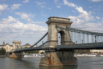 Chain bridge on Danube river Budapest